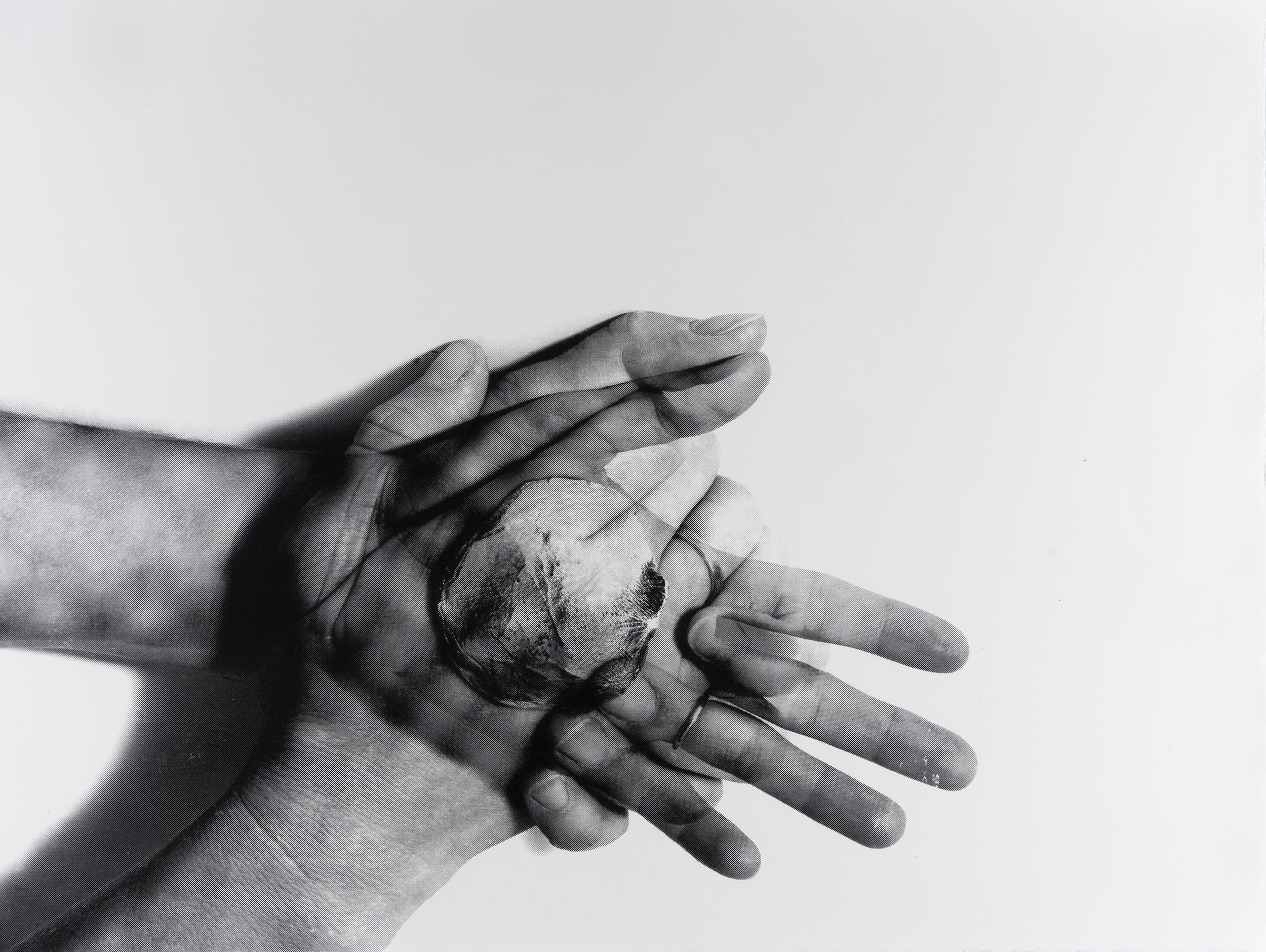 Silkscreen print of two hands pressing palm-to-palm and shaping a ceramic disk, which can be seen via an overlaid image effect similar to an X-ray.
