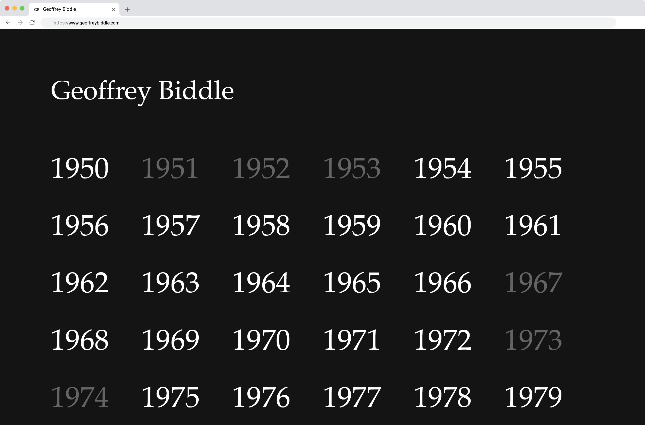 Screenshot of Geoffrey Biddle's website home page, which features his name and years from 1950 to 1979 in black, white, and grey.