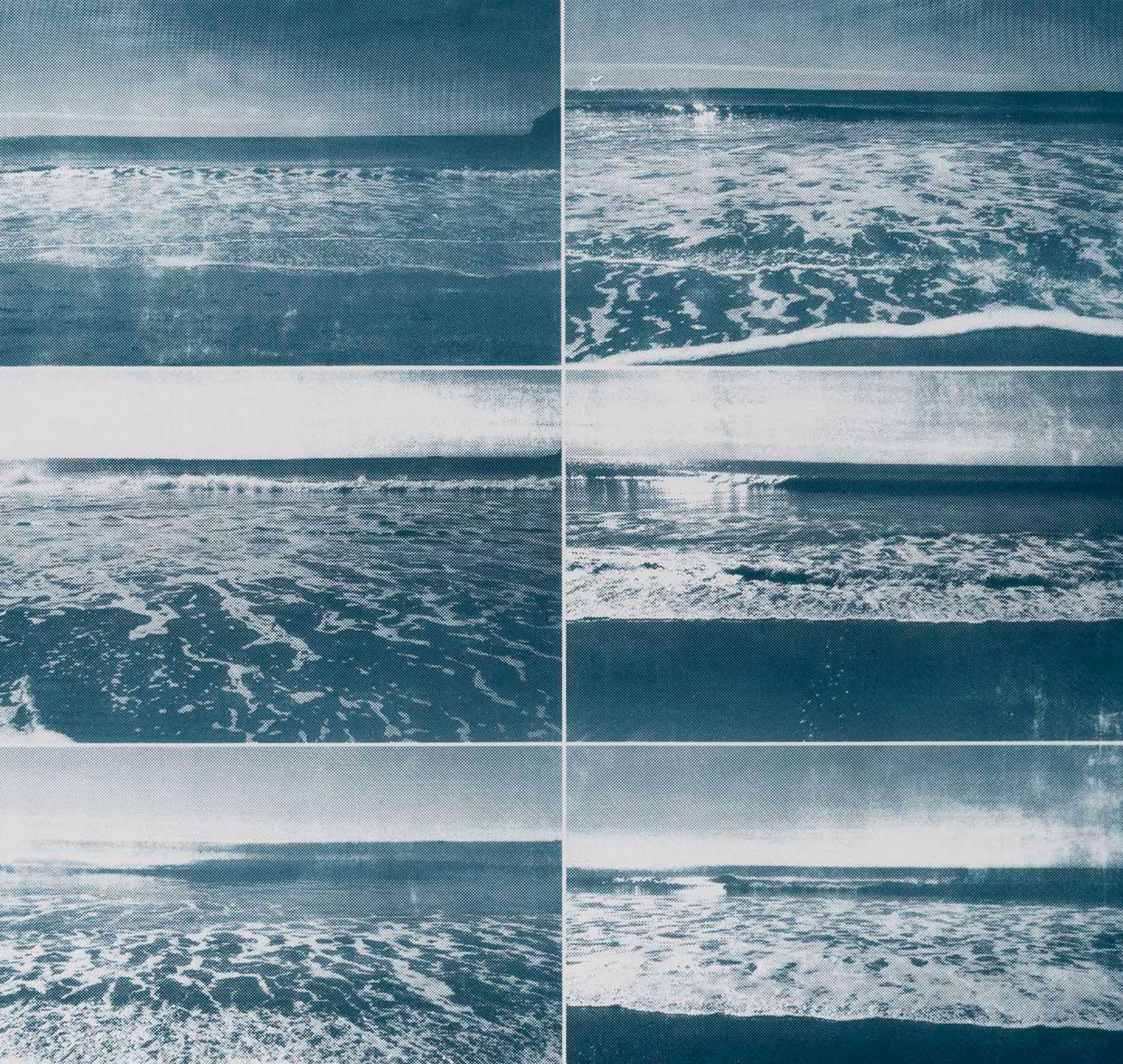 Silkscreen of a repeated grid of images of the ocean.