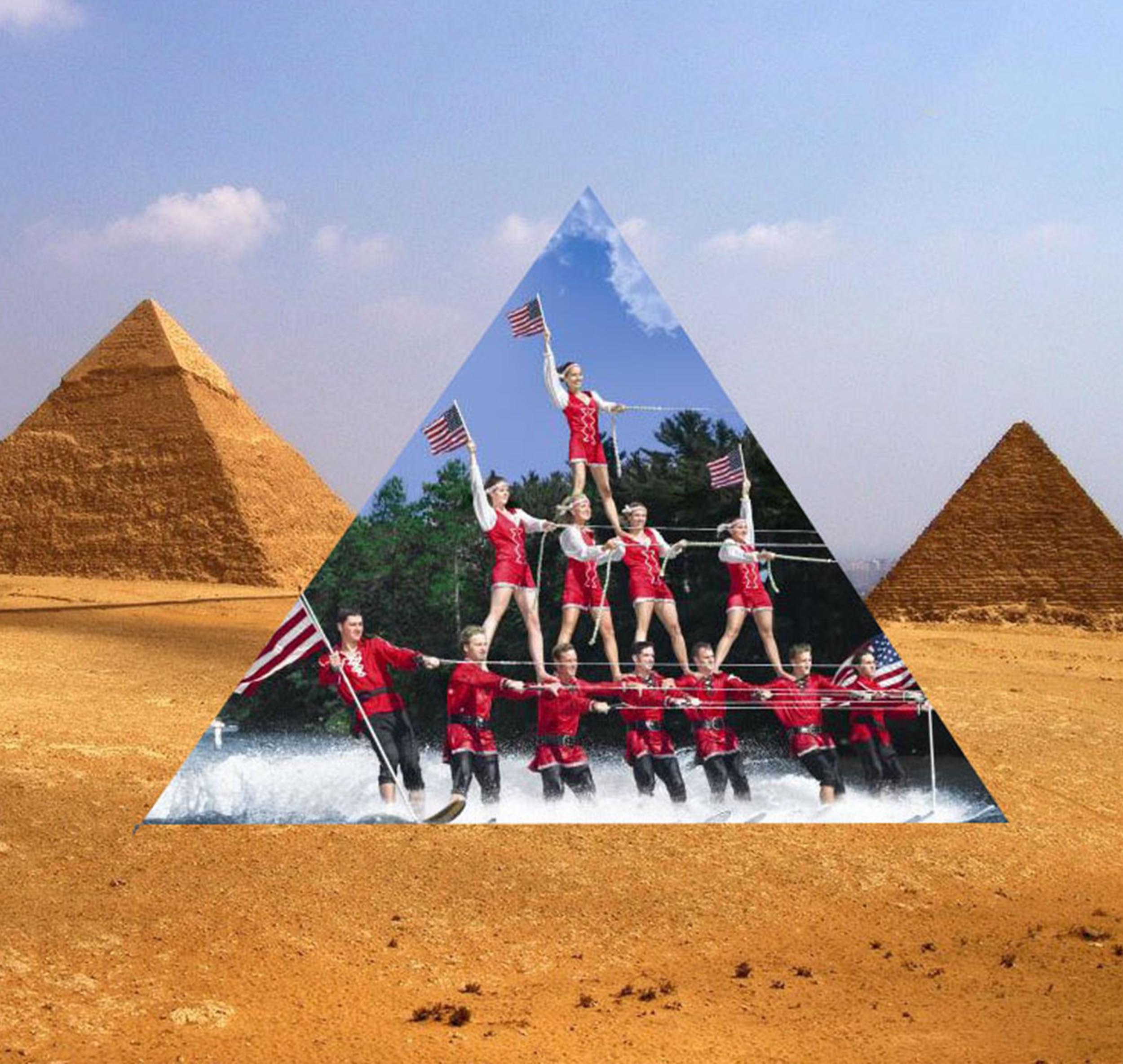 A collage of the desert with pyramids, the center of which has is a photograph of several people waterskiing in a pyramid formation.